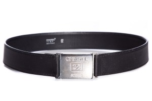 Chanel Chanel Black Leather & Silver Square Belt SZ 85