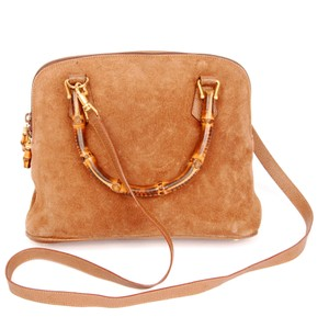 Gucci Suede Satchels Bamboo Cross Body Bag
