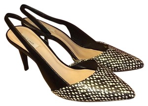Cole Haan Leather Slingback Black and White Pumps
