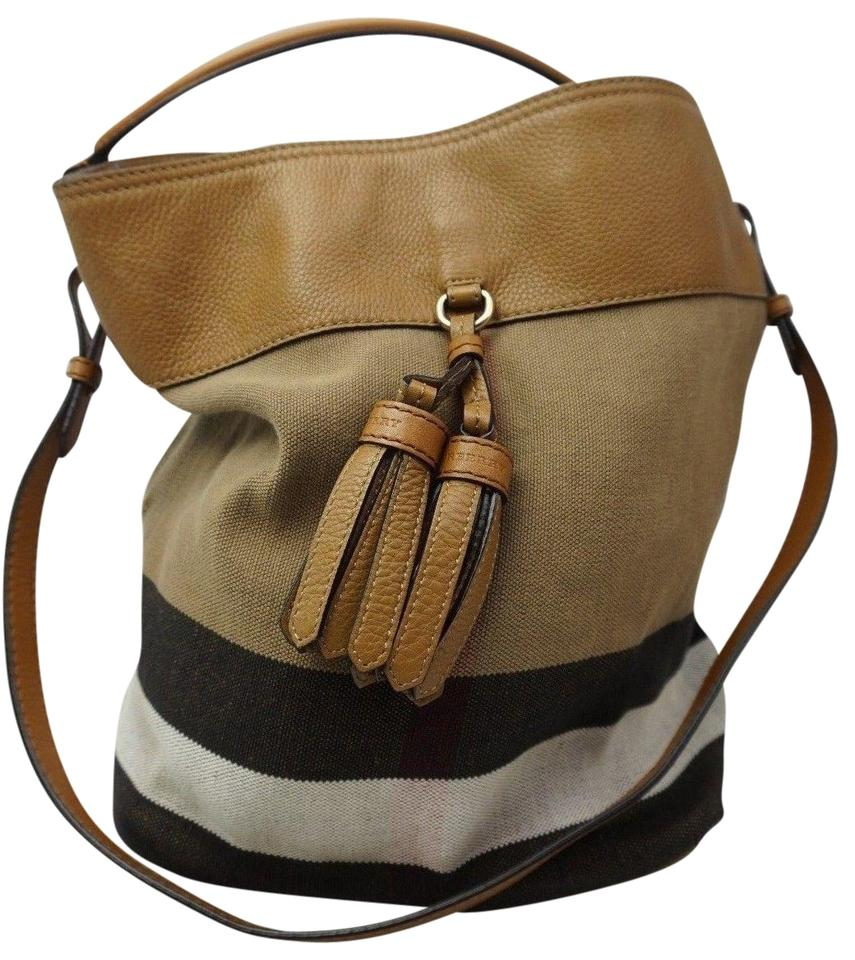 Burberry Ashby Medium Canvas Check Tassel Bucket Brown Leather and Fabric  Shoulder Bag df6d663713911