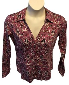 Talbots Casual Longsleeve Floral Cotton Button Down Shirt Purple