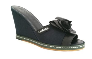 Chanel Fabric Leather Camellia Navy and Black Wedges