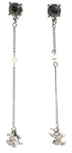 Chanel Chanel Black Stone Silver CC Long Piercing Earrings