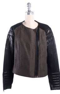 AllSaints Leather Motorcycle Tweed Black and brown Leather Jacket
