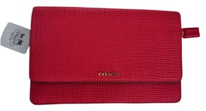 Coach Leather Embossed Pink Gold Cross Body Bag
