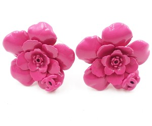 Chanel Fuchsia Camellia Clip On Earrings