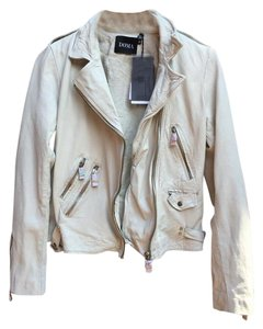 DOMA Leather Motorcycle Moto Beige Leather Jacket
