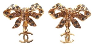 Chanel Vintage Chanel Gold Plated Bow Crystal CC Clip on Earrings