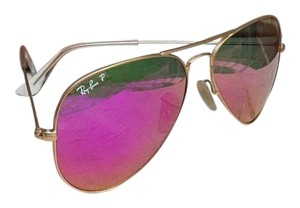 Ray-Ban Ray-Ban RB 3025 112/10 Aviator Large Metal Gold Pink Mirror Polarized