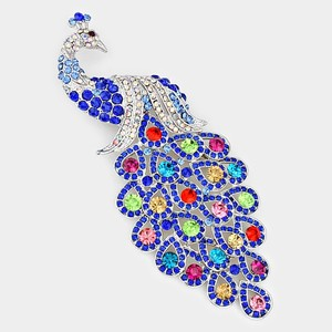 Clear Rhodium Silver Blue Multi Multicolor Rhinestone Crystal Peacock Brooch/Pin