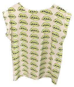 Miss Finch Top Ivory, Neon yellow, Black