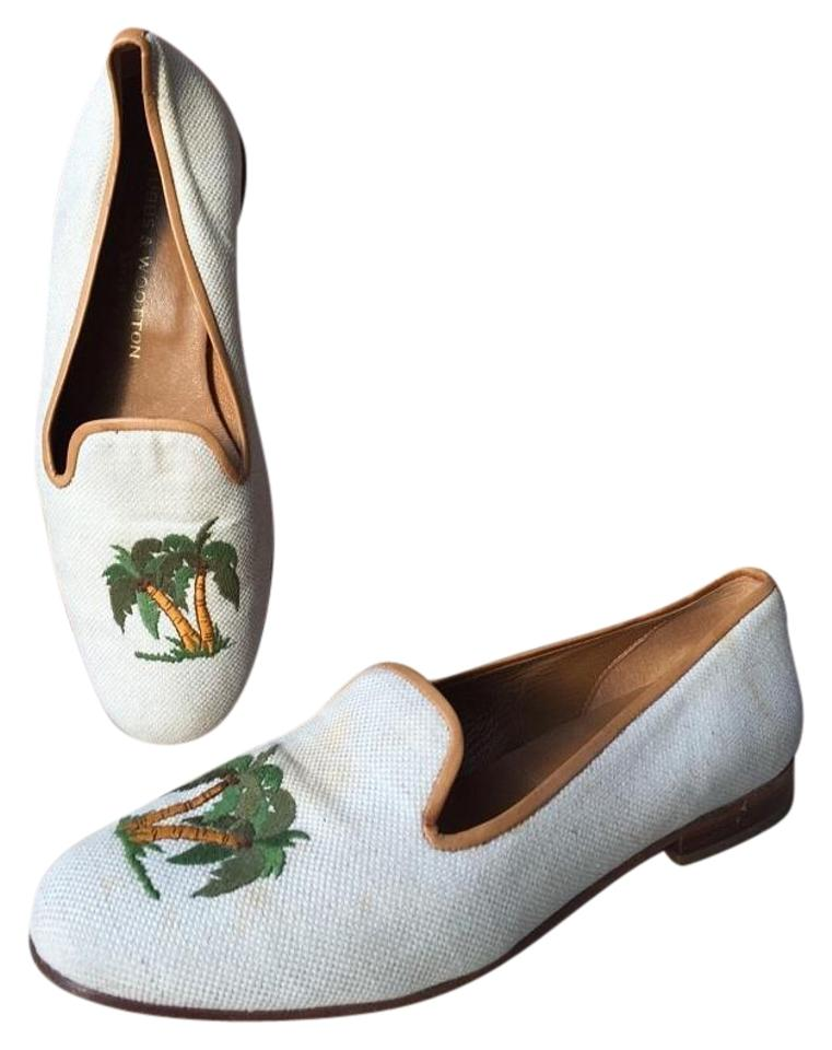 Stubbs & Palm Wootton Beige Palm Beach Canvas Palm & Tree Loafer Flats 4650c6