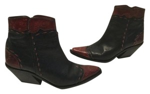 Donald J. Pliner Designs Brown red all leather ankle cowboy Boots