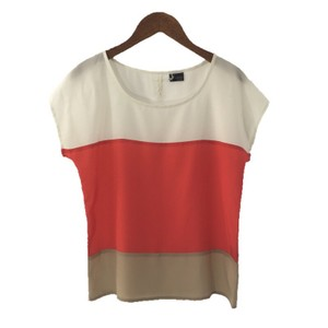 Sparkle & Fade Color-blocking Polyester Fall Top IVORY/ RED/ TAN
