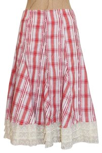 Anthropologie Hazel Plaid Lace Bohemian Skirt MULTI COLOR