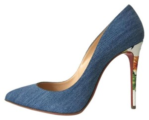 Christian Louboutin Pigalle Follies Denim Jean Blue Pumps