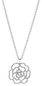 PANDORA PANDORA Necklace Shimmering Rose with Clear CZ 390368CZ-90