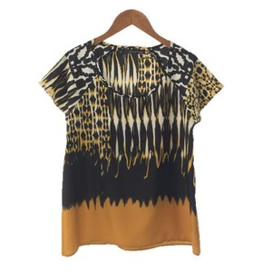 PJK Patterson J. Kincaid Print Polyester Color-blocking Night Out Date Night Top BLACK/ WHITE/ YELLOW