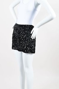 Alice + Olivia Silk Frayed Trim Sequined Mini Mini Skirt Black