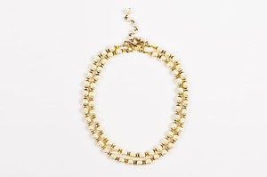 Miriam Haskell Vintage Miriam Haskell Gold Tone Faux Pearl Double Strand Beaded Short Necklace