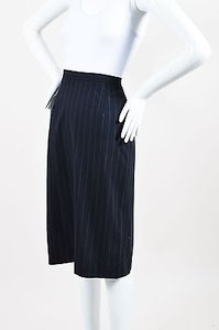 Max Mara Navy White Wool Skirt Blue