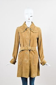 A.P.C. Suede Leather Button Down Trench Coat