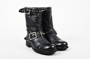 Jimmy Choo Leather Studded Mid Calf Youth Black Boots