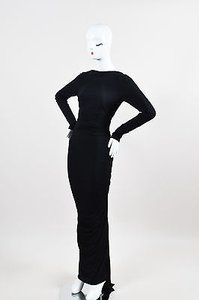 Black Maxi Dress by Donna Karan York Backless Ls Draped Maxi Gown