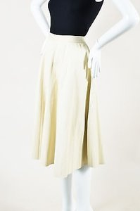 Theory Leather Pleated Skirt Beige