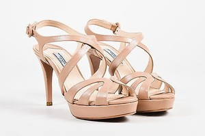 Prada Saffiano Leather Cut Out Platform Peep Toe Ankle Strap Heels Nude Sandals