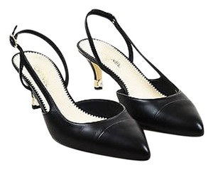 Chanel Leather Pointy Pearl Black Pumps