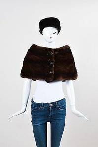 Vintage Dark Brown Fur Stole Shawl Headband