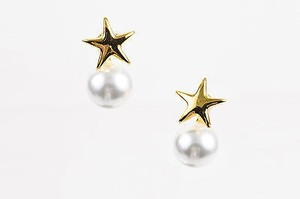 Kenneth Jay Lane Kenneth Jay Lane Gold Tone Faux Pearl Star Stud Double Sided Earrings