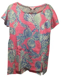 Lilly Pulitzer Linen Print Shells Nautical Preppy T Shirt Pink Pout Barefoot Princess
