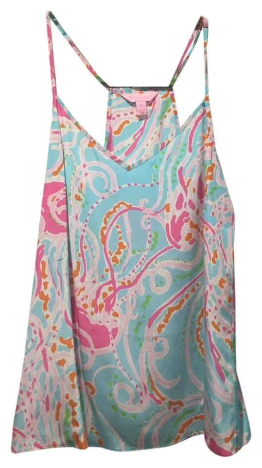 812831c9d30d40 Lilly Pulitzer Print Nautical Top Blue / Pink Jellies Be Jammin Image 0 ...