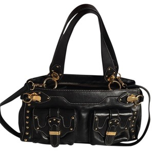 MICHAEL Michael Kors Satchel in Black & Gold