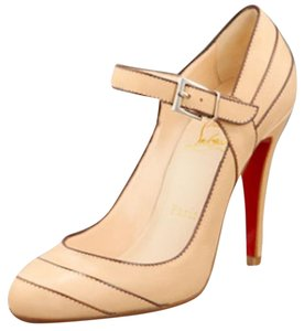 Christian Louboutin Tan Fall Winter Mary Jane Leather Nude Pumps
