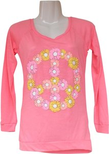 Rue 21 New Daisies Pink Peace Longsleeve T Shirt pink, yellow