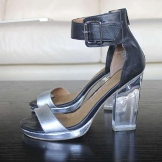 Jeffrey Campbell Leather Perspex Platform Chunky silver, clear, black Sandals