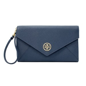 Tory Burch Leather Robinson Envelope Clutch Tri-fold Wallet Wristlet in Hudson Bay