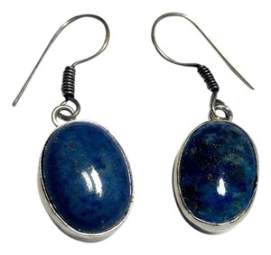 New Lapis Lazuli Gemstone Earrings Blue Silver J2916