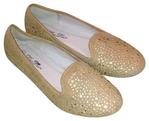 Luo luo Loafers Glitter Sparkle Comfortable Tan and gold Flats