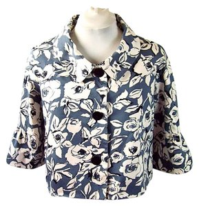 Jones New York Floral Cropped Vintage Flared Sleeve Gray Jacket