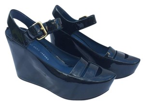 Marc by Marc Jacobs Patent Patent Leather Rare Metallic Navy Wedges