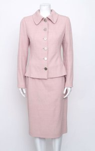 Dolce&Gabbana Dolce Gabbana Light Pink Embossed Crepe Button Jacket Pencil Skirt Suit 844m