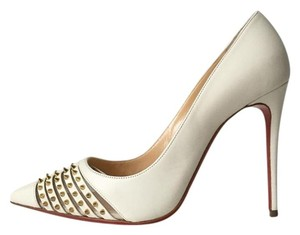Christian Louboutin Bareta Barretta Spiked White Pumps