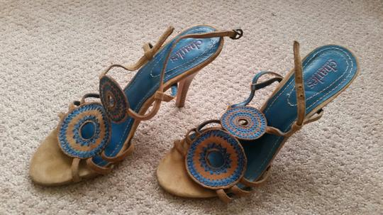 Charles David Brown and Teal Sandals