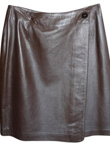 Evan Davies Leather Wrap Button Short Skirt Chocolate Brown