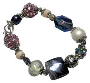 New Glass Beaded Bracelet Purple Silver J2917