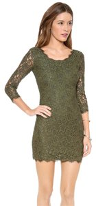 Diane von Furstenberg Bodycon Green Lace Cocktail Dress